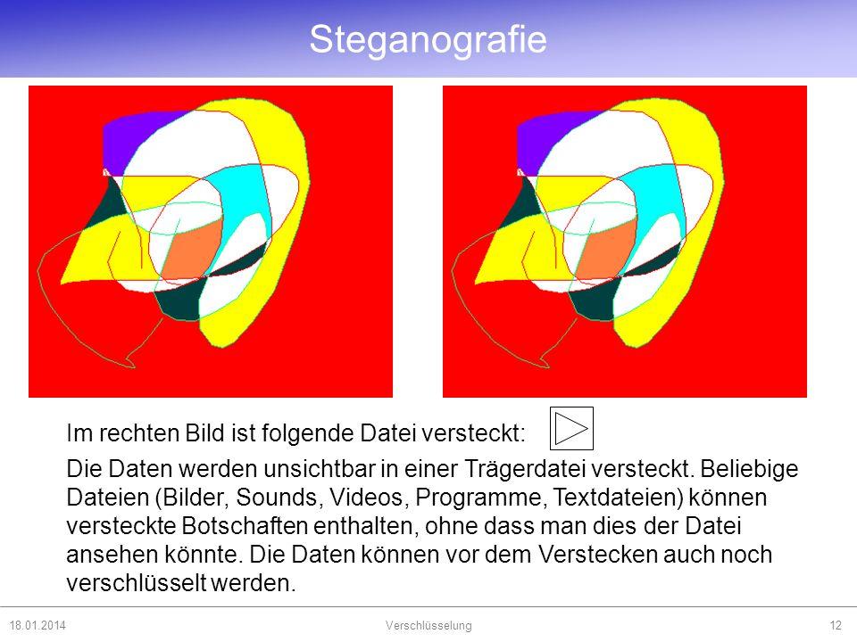 Steganografie Im rechten Bild ist folgende Datei versteckt:
