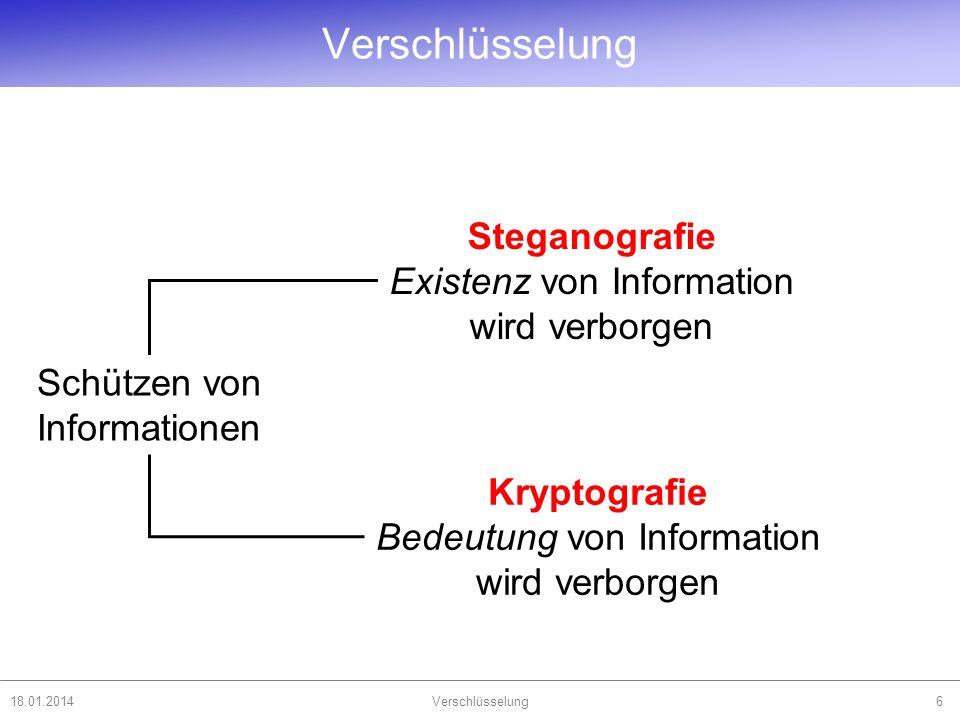 Verschlüsselung Steganografie Existenz von Information wird verborgen