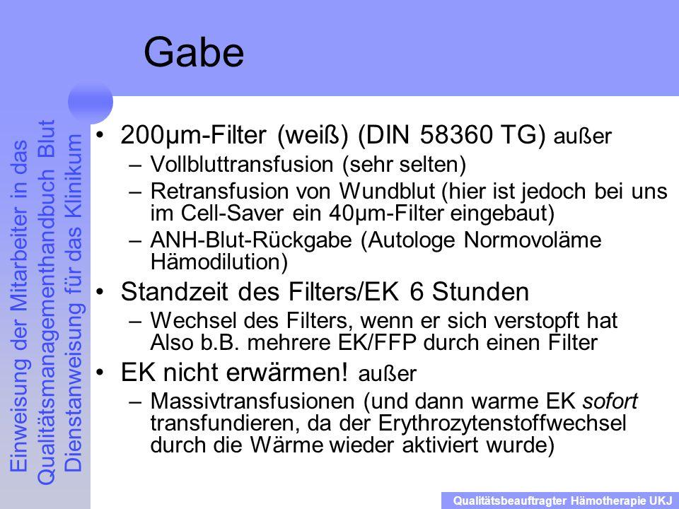 Gabe 200µm-Filter (weiß) (DIN 58360 TG) außer