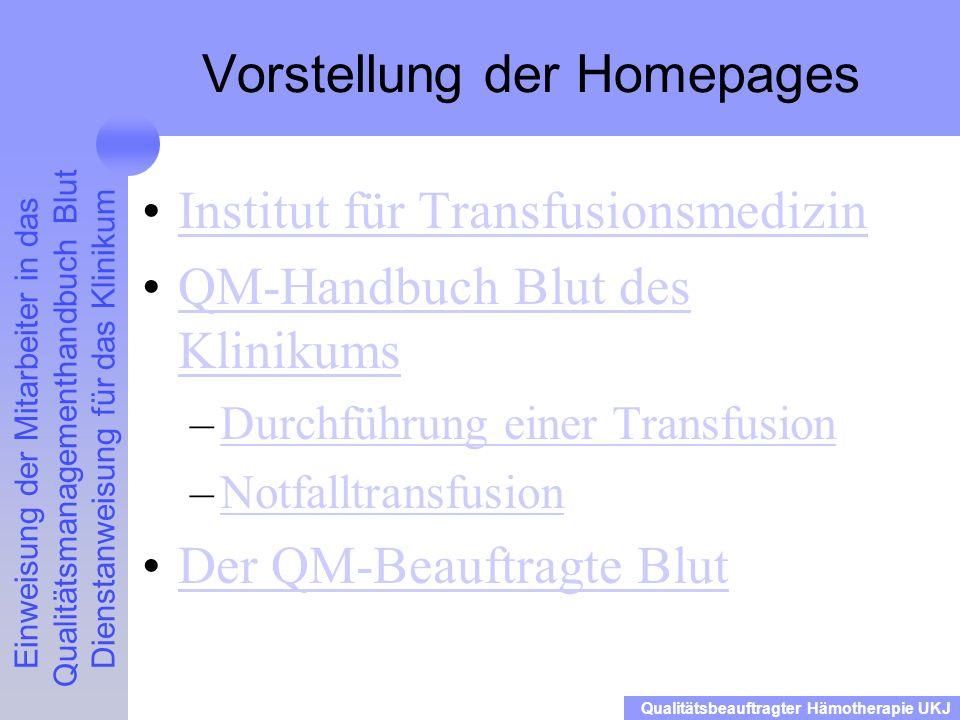 Vorstellung der Homepages