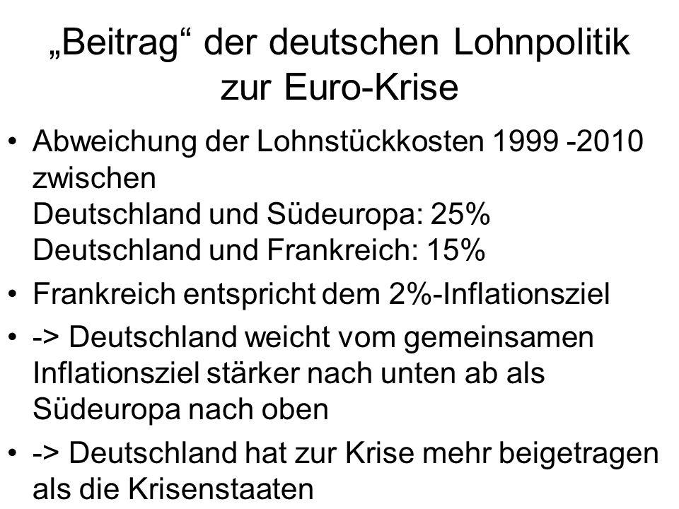 """""""Beitrag der deutschen Lohnpolitik zur Euro-Krise"""
