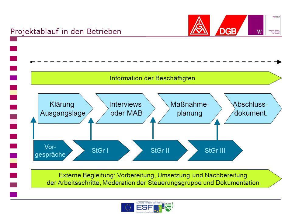 Projektablauf in den Betrieben