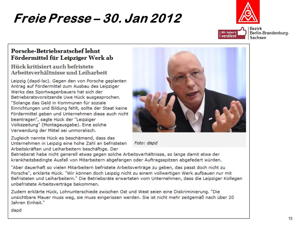 Freie Presse – 30. Jan 2012