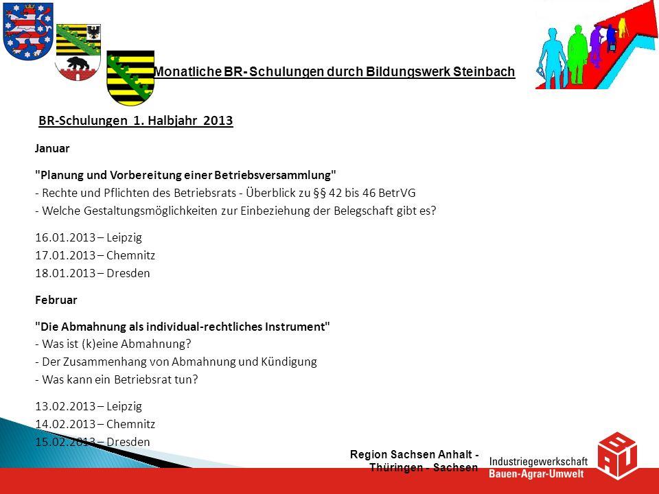 Monatliche BR- Schulungen durch Bildungswerk Steinbach