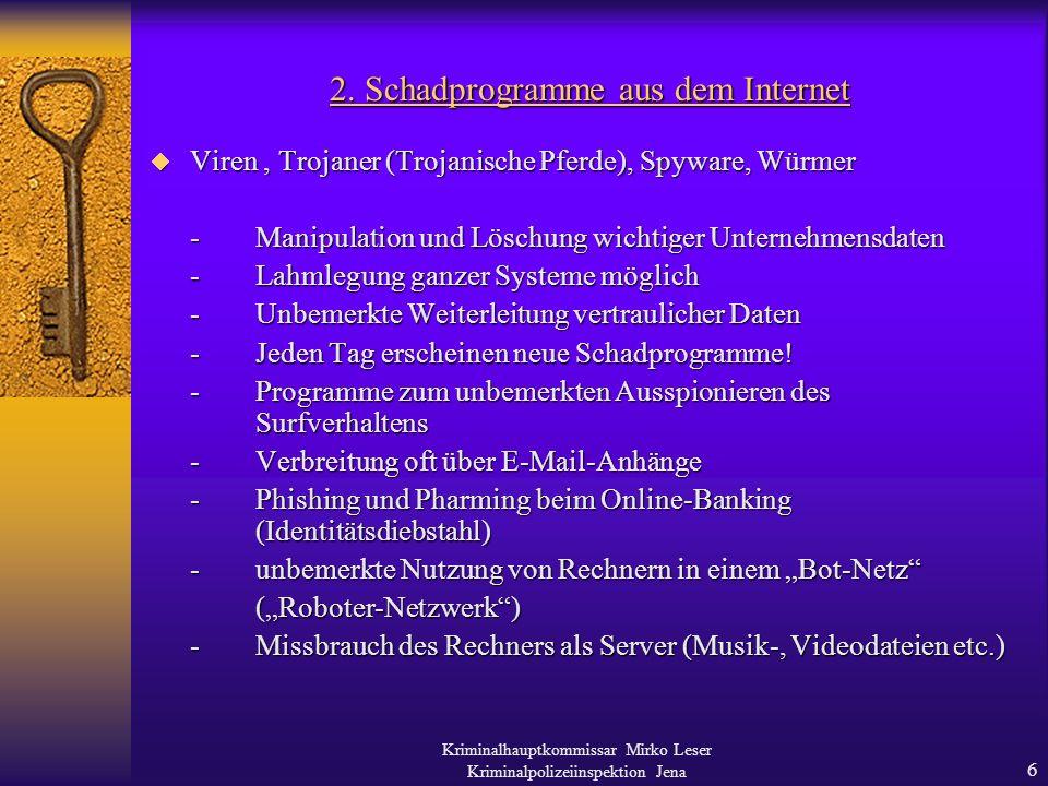 2. Schadprogramme aus dem Internet