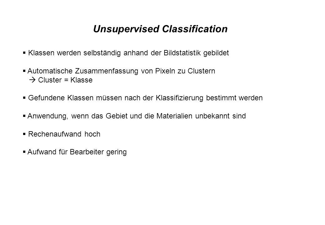 Unsupervised Classification