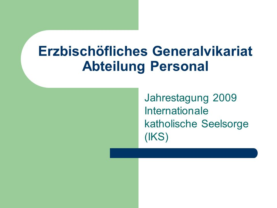 Erzbischöfliches Generalvikariat Abteilung Personal