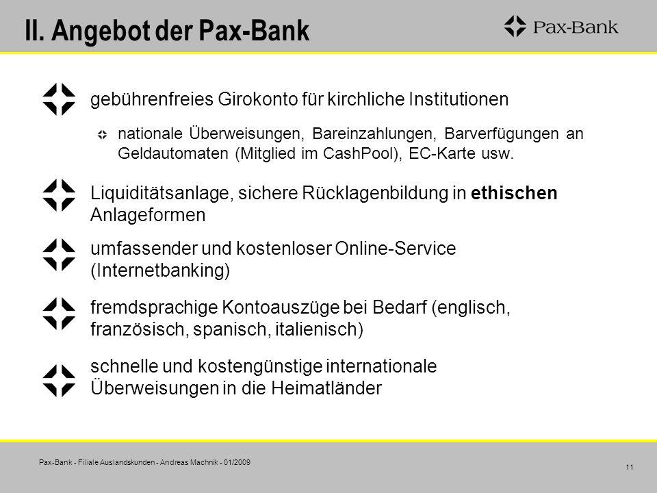 II. Angebot der Pax-Bank
