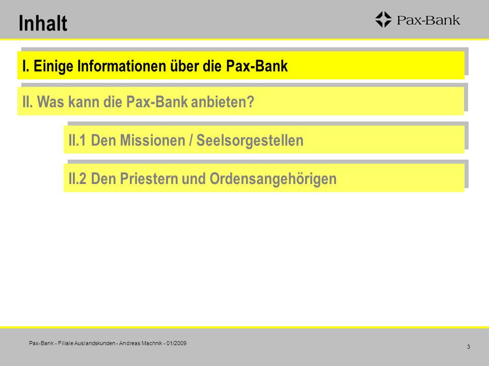 Inhalt I. Einige Informationen über die Pax-Bank