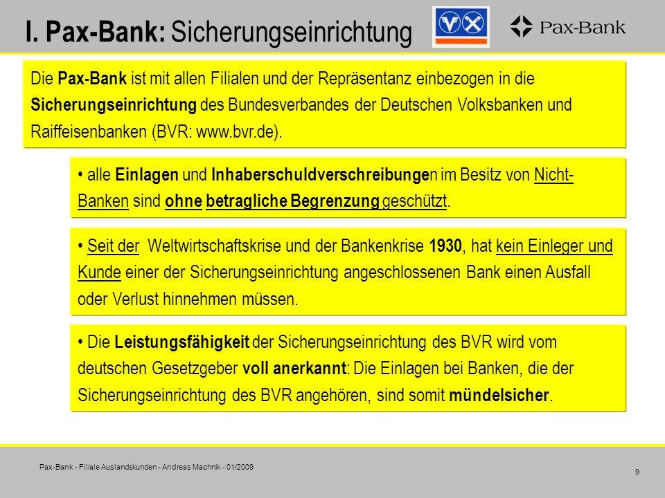 I. Pax-Bank: Sicherungseinrichtung
