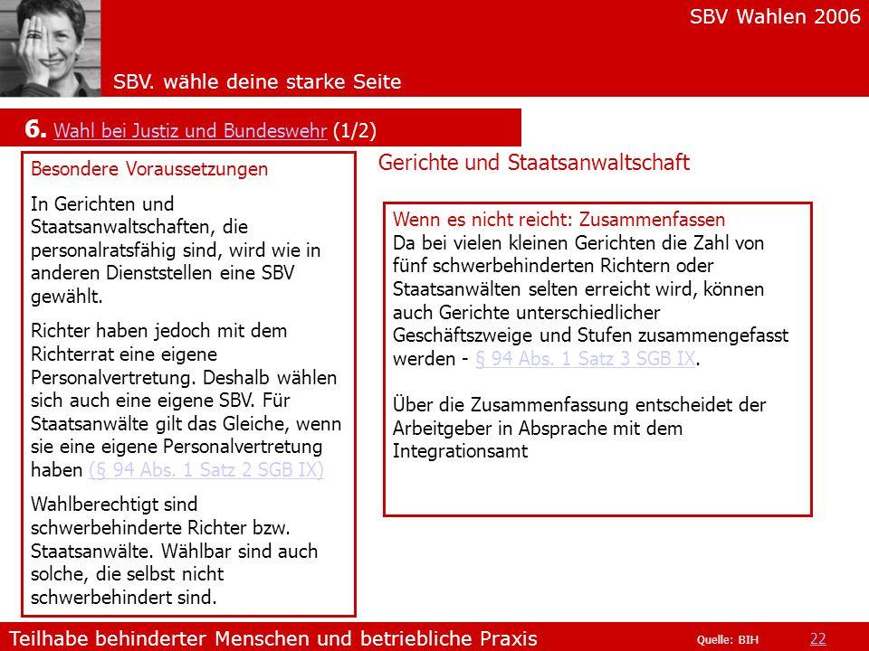 6. Wahl bei Justiz und Bundeswehr (1/2)
