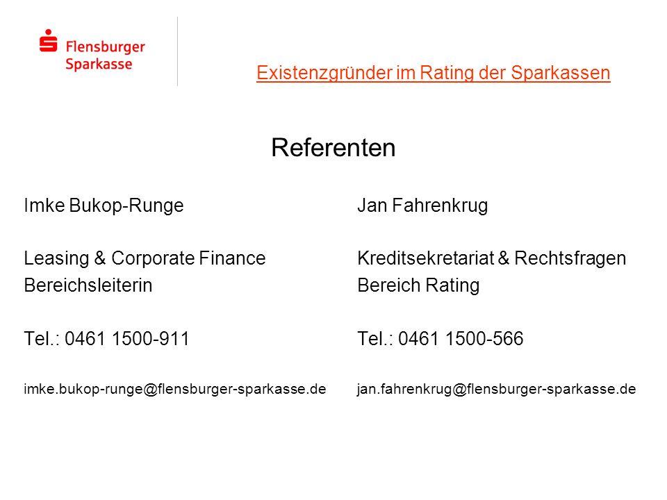 Existenzgründer im Rating der Sparkassen