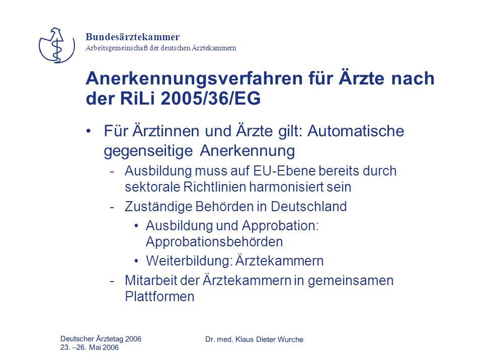 Anerkennungsverfahren für Ärzte nach der RiLi 2005/36/EG