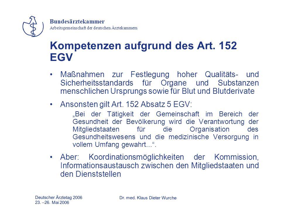 Kompetenzen aufgrund des Art. 152 EGV