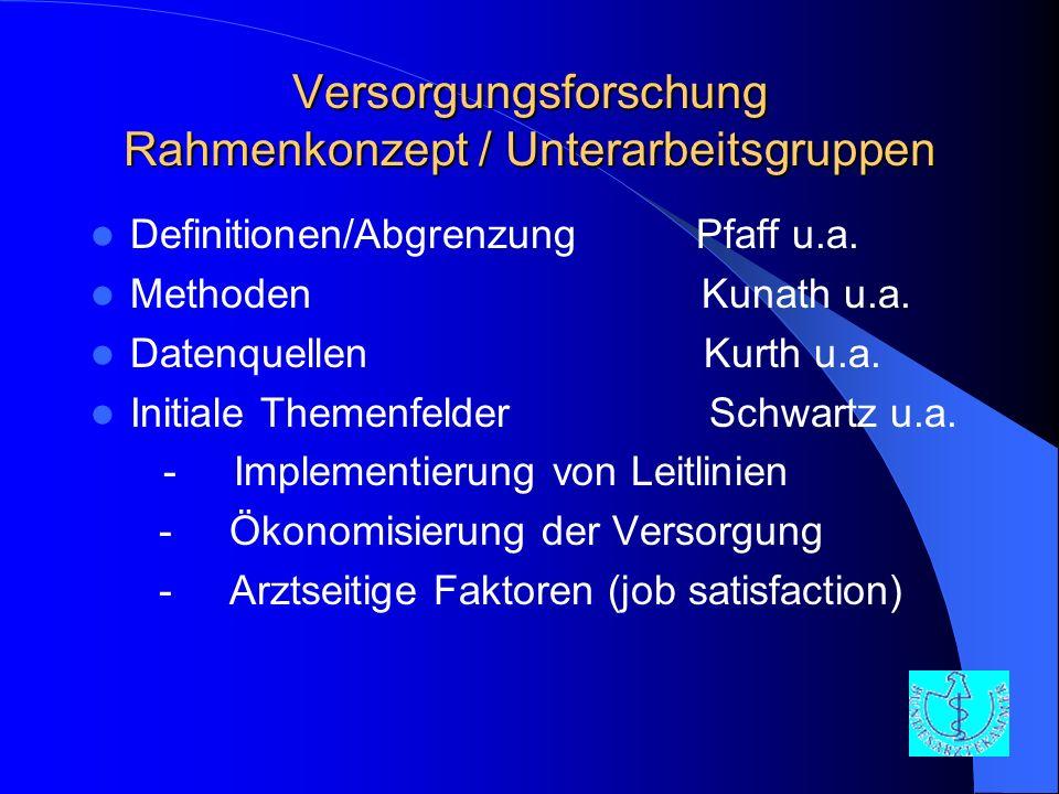 Versorgungsforschung Rahmenkonzept / Unterarbeitsgruppen