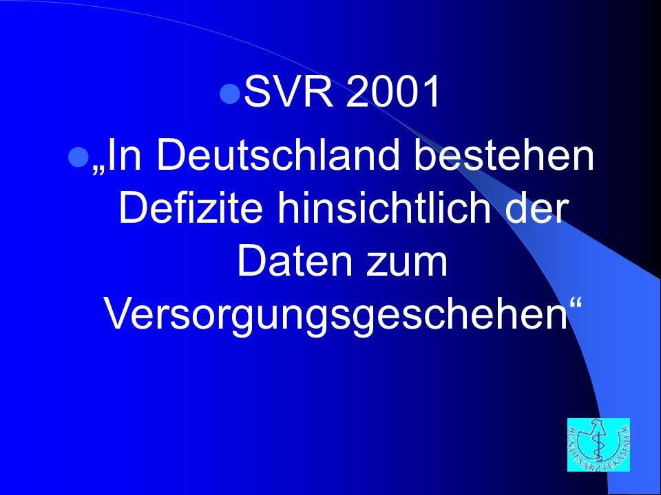 """SVR 2001 """"In Deutschland bestehen Defizite hinsichtlich der Daten zum Versorgungsgeschehen"""