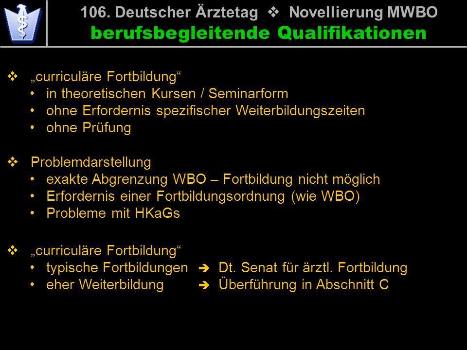 106. Deutscher Ärztetag v Novellierung MWBO