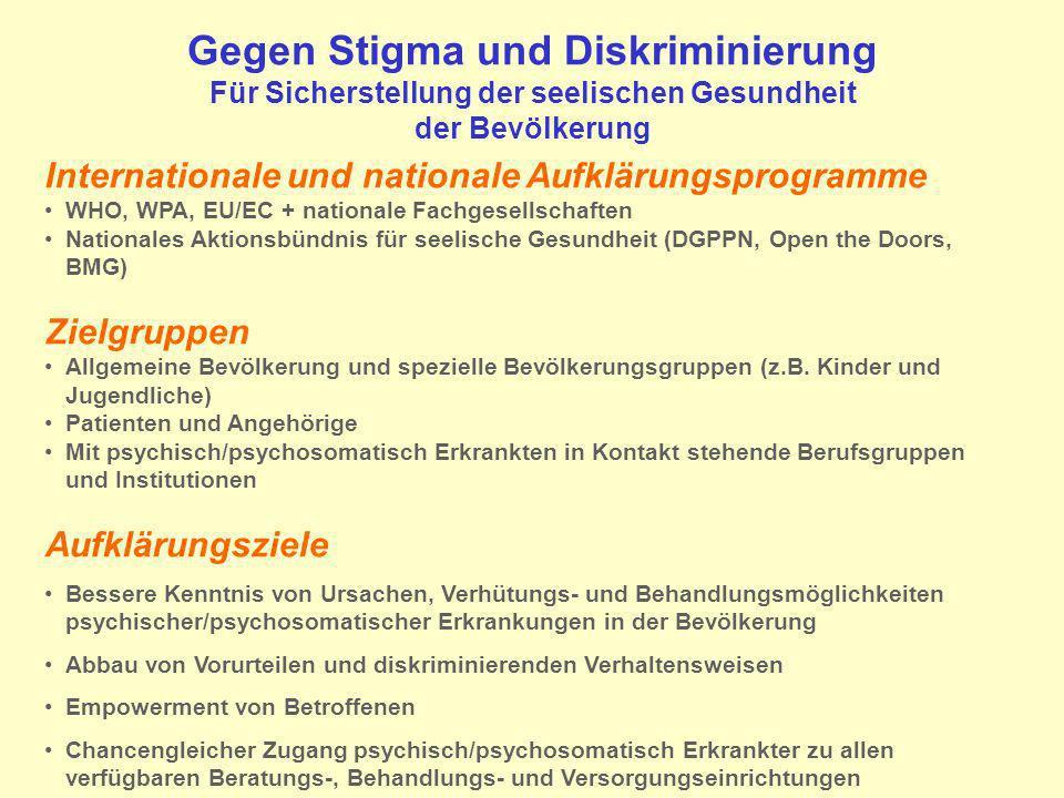 Gegen Stigma und Diskriminierung Für Sicherstellung der seelischen Gesundheit der Bevölkerung