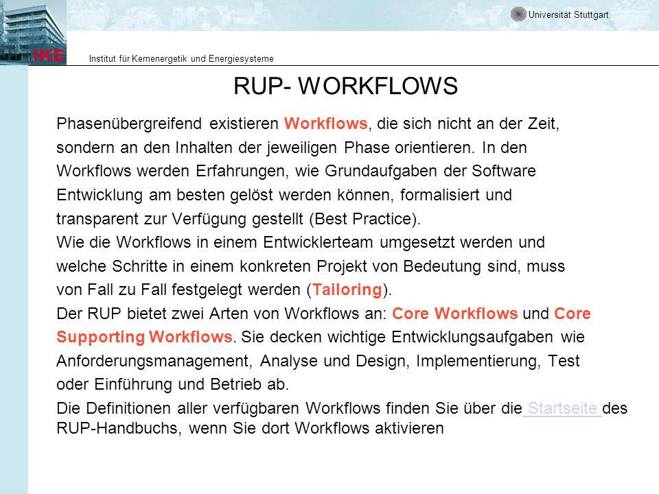 RUP- WORKFLOWS Phasenübergreifend existieren Workflows, die sich nicht an der Zeit, sondern an den Inhalten der jeweiligen Phase orientieren. In den.