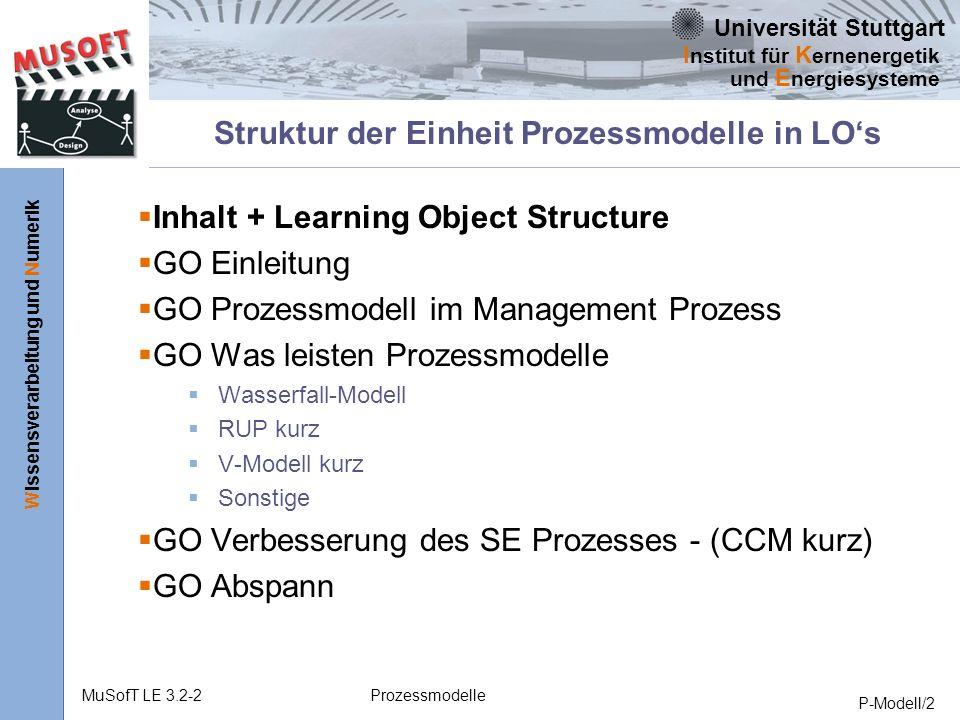 Struktur der Einheit Prozessmodelle in LO's