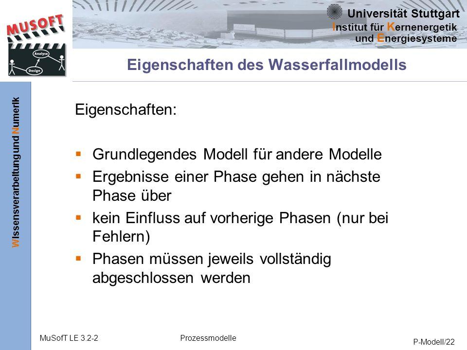 Eigenschaften des Wasserfallmodells