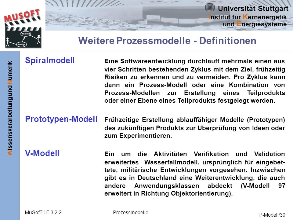 Weitere Prozessmodelle - Definitionen