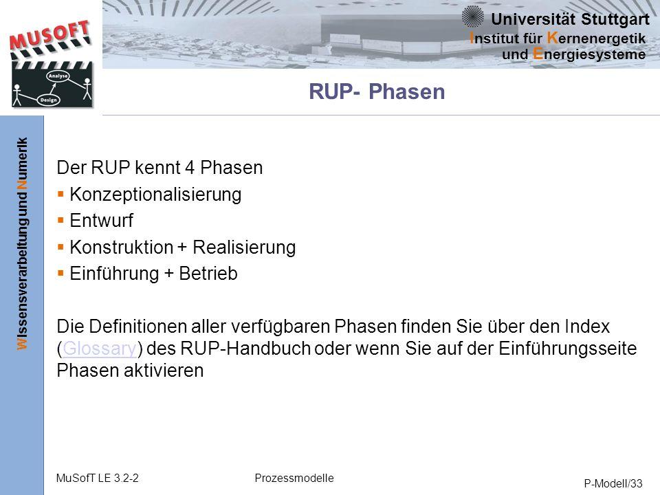 RUP- Phasen Der RUP kennt 4 Phasen Konzeptionalisierung Entwurf