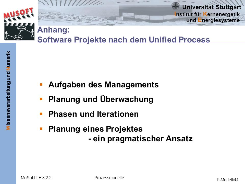 Anhang: Software Projekte nach dem Unified Process