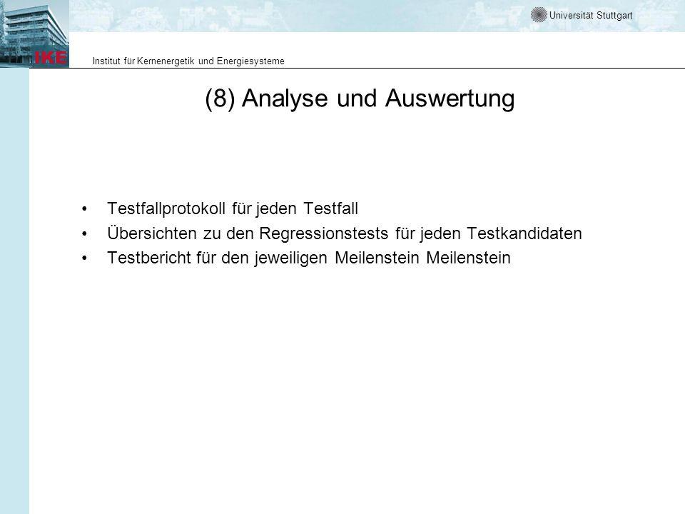 (8) Analyse und Auswertung