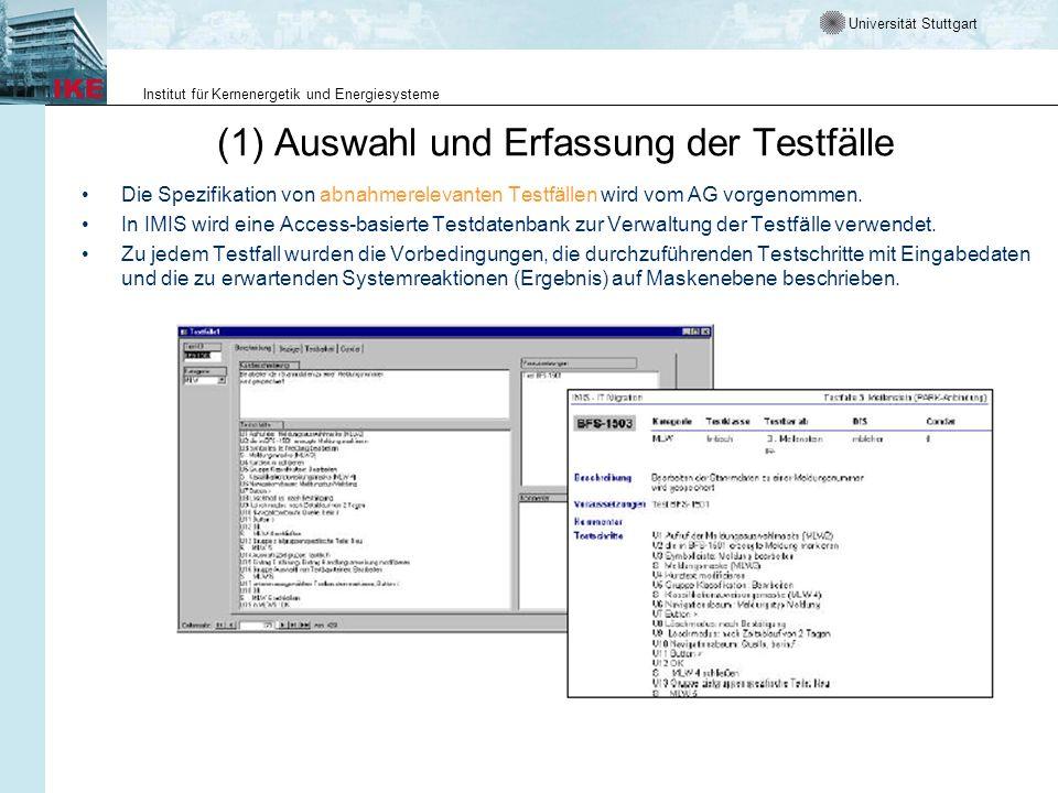(1) Auswahl und Erfassung der Testfälle