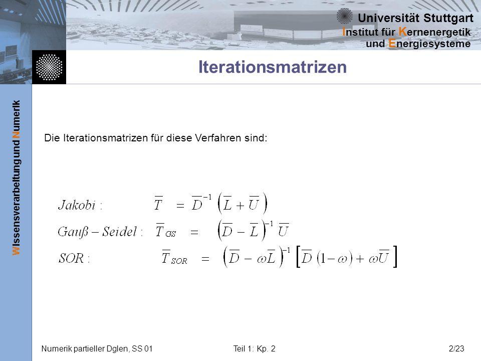 Iterationsmatrizen Die Iterationsmatrizen für diese Verfahren sind: