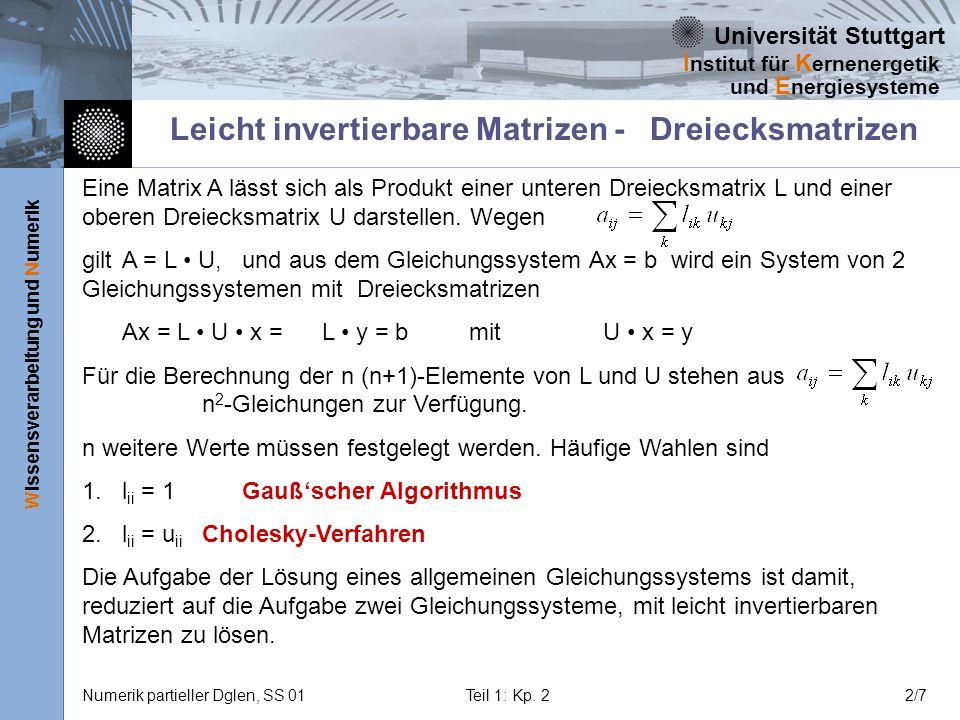 Leicht invertierbare Matrizen - Dreiecksmatrizen