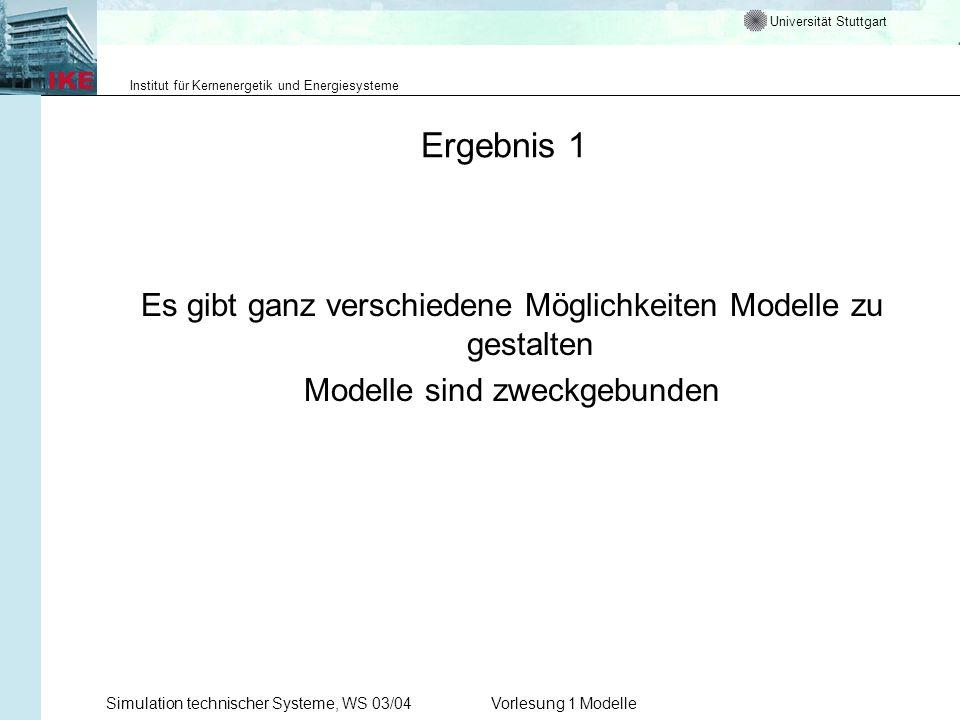 Ergebnis 1 Es gibt ganz verschiedene Möglichkeiten Modelle zu gestalten. Modelle sind zweckgebunden.