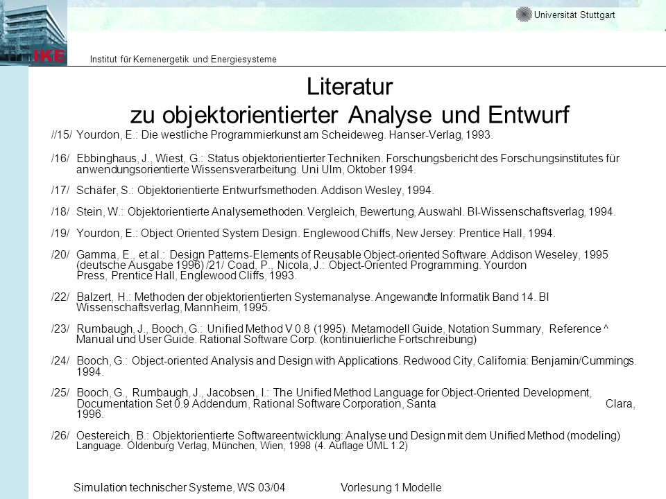 Literatur zu objektorientierter Analyse und Entwurf