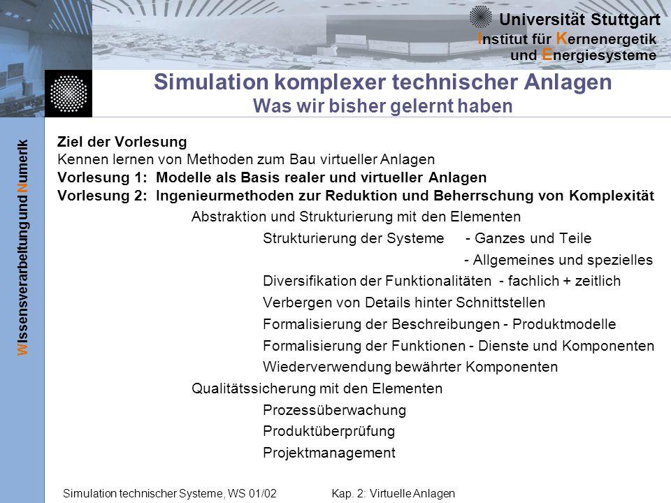 Simulation komplexer technischer Anlagen Was wir bisher gelernt haben