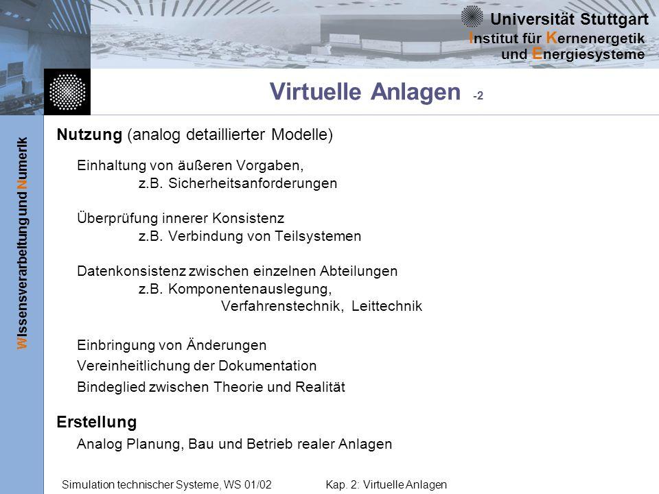Virtuelle Anlagen -2 Nutzung (analog detaillierter Modelle) Erstellung