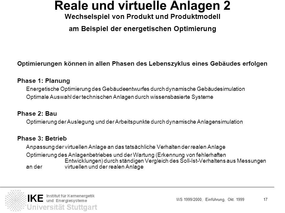Reale und virtuelle Anlagen 2 Wechselspiel von Produkt und Produktmodell am Beispiel der energetischen Optimierung