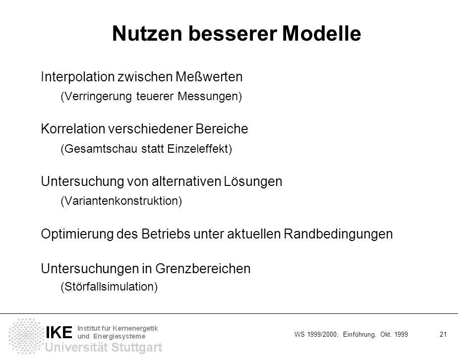 Nutzen besserer Modelle