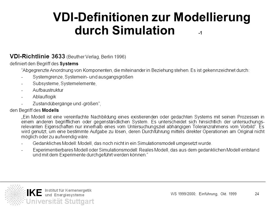 VDI-Definitionen zur Modellierung durch Simulation -1