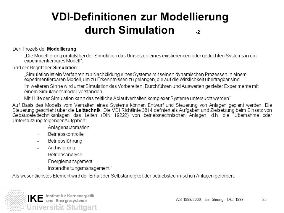 VDI-Definitionen zur Modellierung durch Simulation -2