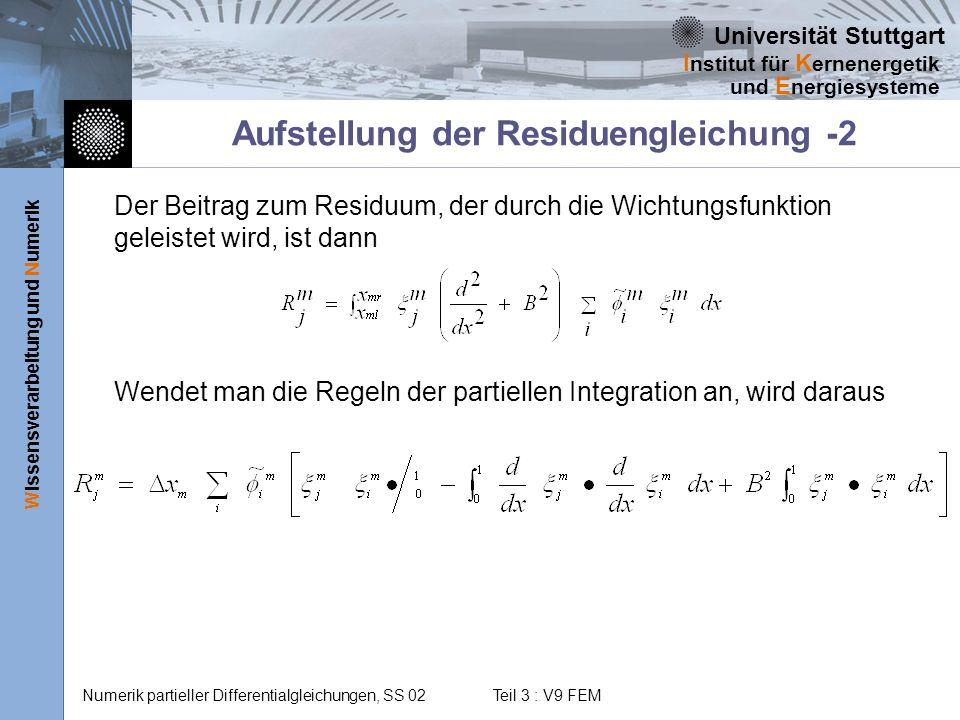 Aufstellung der Residuengleichung -2