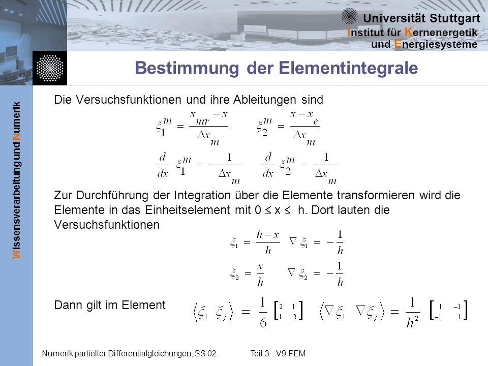 Bestimmung der Elementintegrale