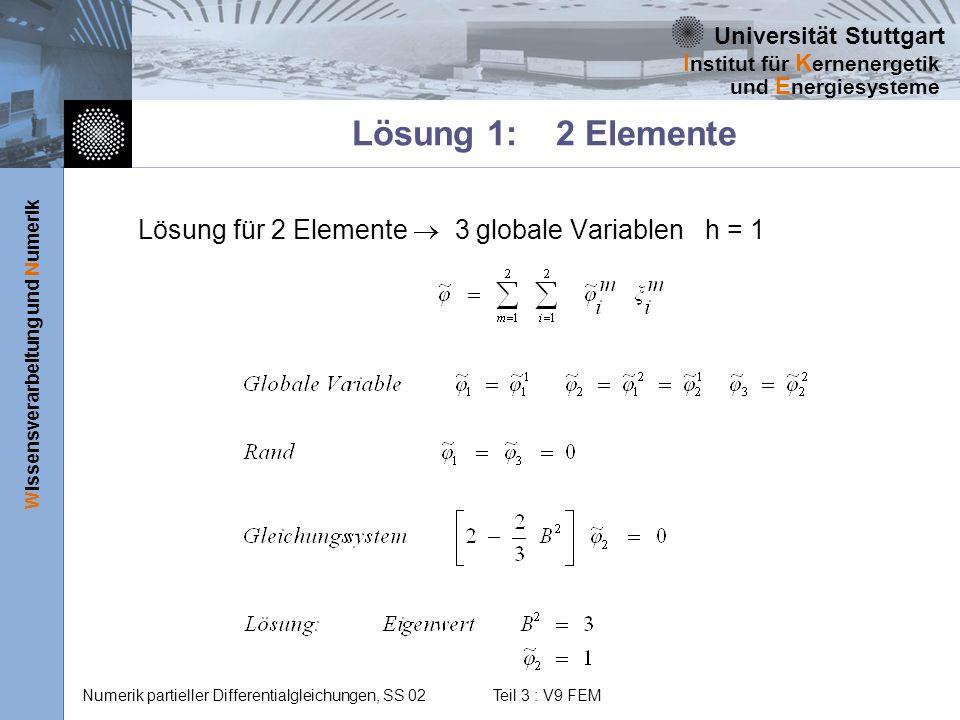 Lösung 1: 2 Elemente Lösung für 2 Elemente  3 globale Variablen h = 1