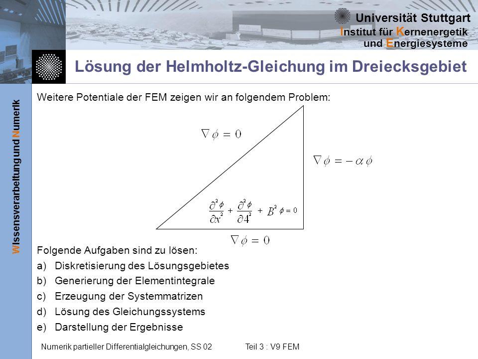Lösung der Helmholtz-Gleichung im Dreiecksgebiet