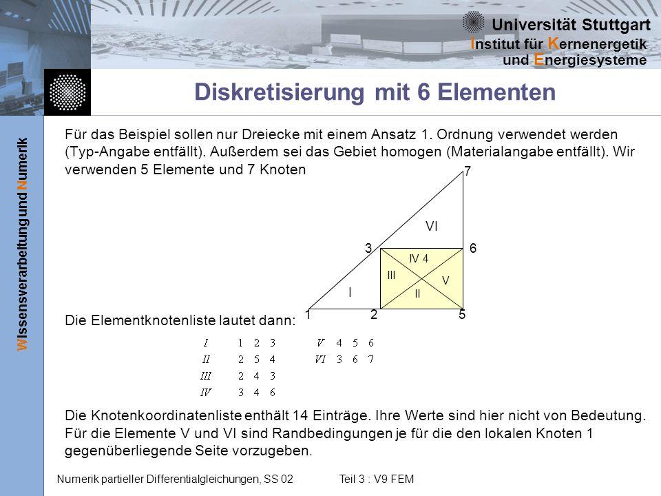 Diskretisierung mit 6 Elementen