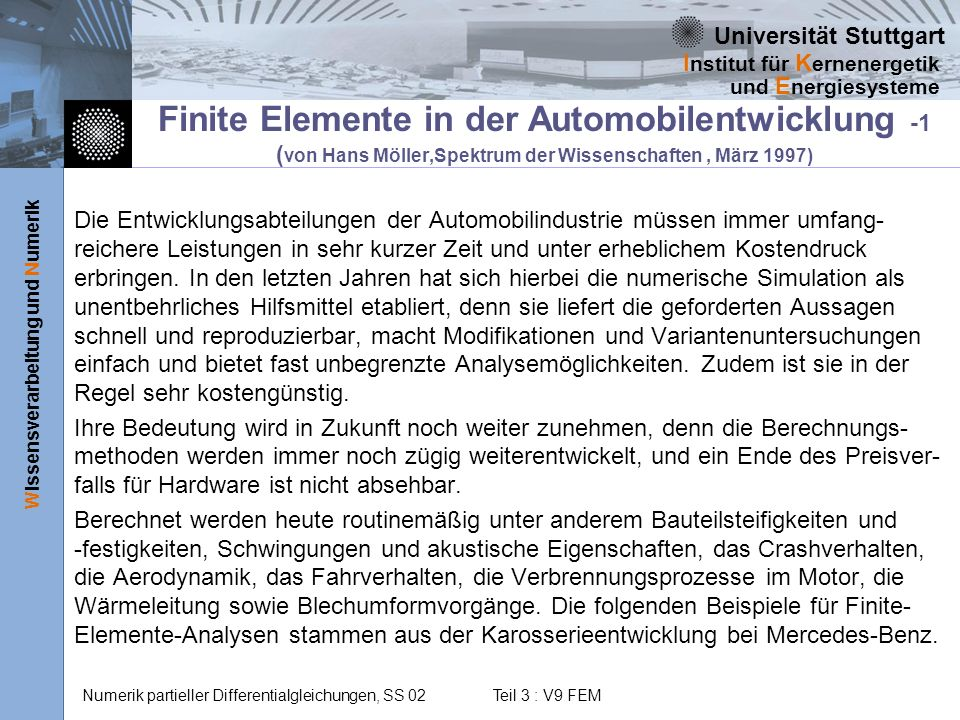 Finite Elemente in der Automobilentwicklung -1 (von Hans Möller,Spektrum der Wissenschaften , März 1997)