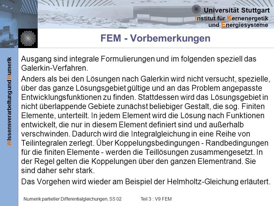 FEM - Vorbemerkungen Ausgang sind integrale Formulierungen und im folgenden speziell das Galerkin-Verfahren.
