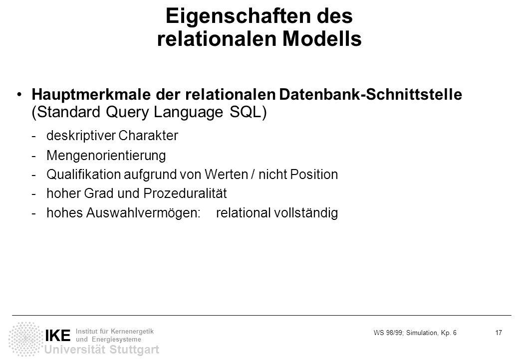 Eigenschaften des relationalen Modells