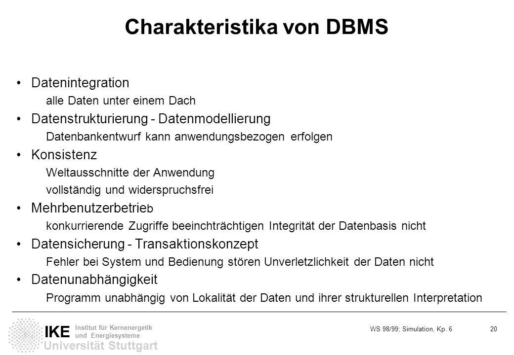 Charakteristika von DBMS