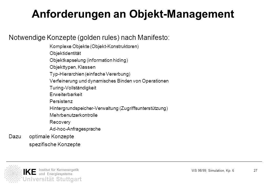 Anforderungen an Objekt-Management